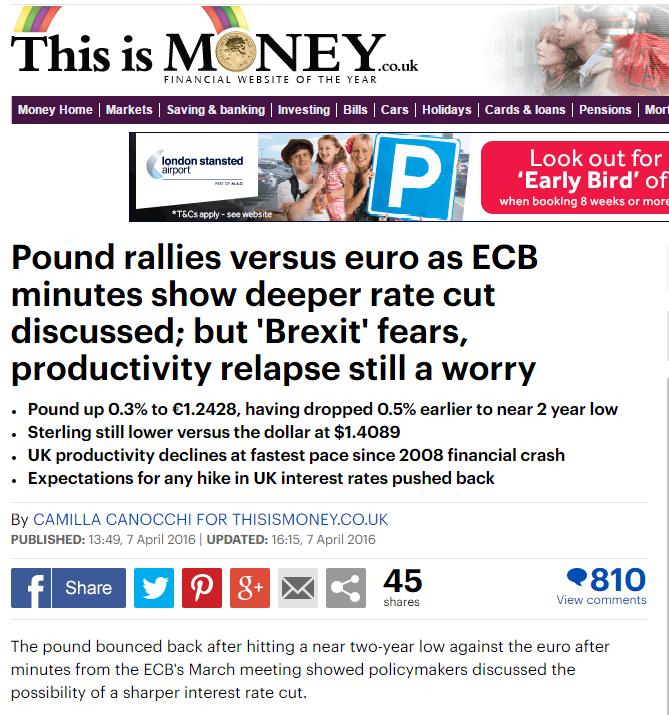 Pound rallies versus euro 1